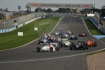 vWorld © Octane Photographic Ltd. BRDC Formula 4 (F4) Race 1, Donington Park 28th September 2013. MSVF4-13, Lanan Racing, Jake Hughes leads the pack as the race starts as James Greenway's nose bodywork goes flying. Digital Ref : 0833lw1d9225