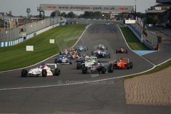 World © Octane Photographic Ltd. BRDC Formula 4 (F4) Race 1, Donington Park 28th September 2013. MSVF4-13, Lanan Racing, Jake Hughes leads the pack as the race starts. Digital Ref : 0833lw1d9227