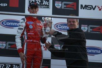 World © Octane Photographic Ltd. BRDC Formula 4 (F4) Race 1, Donington Park 28th September 2013. MSVF4-13, Hillspeed, Seb Morris receives his trophy from Jonathan Palmer. Digital Ref : 0833lw1d9248