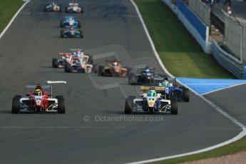 World © Octane Photographic Ltd. BRDC Formula 4 (F4) Race 1, Donington Park 28th September 2013. MSVF4-13, Hillspeed, Struan Moore leading MSVF4-13, HHC Motorsport, Gustavo Lima. Digital Ref : 0833lw1d9621