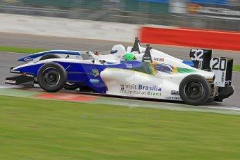 World © Octane Photographic Ltd. BRDC Formula 4 (F4) Championship, Silverstone, April 27th 2013. MSV F4-013, HHC Motorsport, Gustavo Lima and Motionsport, Ross Gunn. Digital Ref : 0642cb7d9334