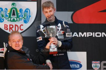 World © Octane Photographic Ltd. Brands Hatch, Championship presentation, Sunday 24th November 2013. Jonathan Palmer and BRDC Formula 4 Winter Series champion Matthew (Matty) Graham – Douglas Motorsport. Digital Ref : 0869cb1d8113