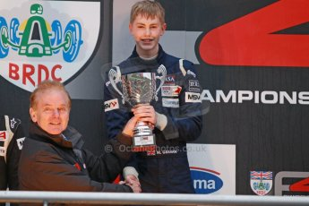 World © Octane Photographic Ltd. Brands Hatch, Championship presentation, Sunday 24th November 2013. Jonathan Palmer and BRDC Formula 4 Winter Series champion Matthew (Matty) Graham – Douglas Motorsport. Digital Ref : 0869cb1d8127