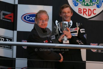 World © Octane Photographic Ltd. Brands Hatch, Championship presentation, Sunday 24th November 2013. Jonathan Palmer and BRDC Formula 4 Winter Series runner up Jack Cook – Hillspeed. Digital Ref : 0869lw1d8113