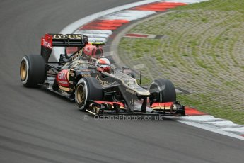 World © Octane Photographic Ltd. F1 German GP - Nurburgring. Friday 5th July 2013 - Practice One. Lotus F1 Team E21 - Romain Grosjean. Digital Ref : 0739lw1d3504