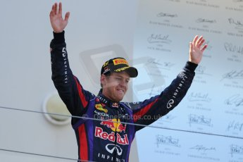 World © Octane Photographic Ltd. F1 German GP - Nurburgring. Sunday 7th July 2013 - Podium. Infiniti Red Bull Racing - Race Winner Sebastian Vettel. Digital Ref : 0750au8i0303