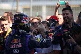 World © Octane Photographic Ltd. F1 German GP - Nurburgring. Sunday 7th July 2013 - Parc Ferme. Infiniti Red Bull Racing - Race Winner Sebastian Vettel. Digital Ref : 0750lw1d5362
