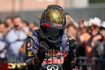 World © Octane Photographic Ltd. F1 German GP - Nurburgring. Sunday 7th July 2013 - Parc Ferme. Infiniti Red Bull Racing - Race Winner Sebastian Vettel. Digital Ref : 0750lw1d5378