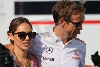 World © Octane Photographic Ltd. F1 German GP - Nurburgring. Saturday 6th July 2013 - Practice three paddock. Vodafone McLaren Mercedes - Jenson Button and Jessica Michibata. Digital Ref : 0744lw1d5725