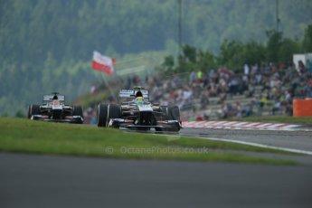 World © Octane Photographic Ltd. F1 German GP - Nurburgring. Saturday 6th July 2013 - Practice three. Sauber C32 in formation - Esteban Gutierrez and Nico Hulkenberg. Digital Ref : 0744lw1d6578