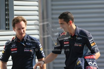 World © Octane Photographic Ltd. F1 German GP - Nurburgring, Sunday 7th July 2013 - Paddock. Infiniti Red Bull Racing - Christian Horner and reserve driver Sebastien Buemi. Digital Ref : 0748lw1d7912
