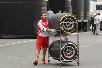 World © Octane Photographic Ltd. F1 German GP - Nurburgring. Thursday 4th July 2013 - Paddock. Scuderia Ferrari F138 tires. Digital Ref : 0737lw1d2995