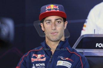 World © Octane Photographic Ltd. F1 German GP - Nurburgring. Thursday 4th July 2013 - Press Conference. Scuderia Toro Rosso STR 8 - Daniel Ricciardo. Digital Ref : 0738lw1d2877