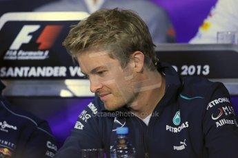 World © Octane Photographic Ltd. F1 German GP - Nurburgring. Thursday 4th July 2013 - Press Conference. Mercedes AMG Petronas F1 W04 - Nico Rosberg. Digital Ref : 0738lw1d3053