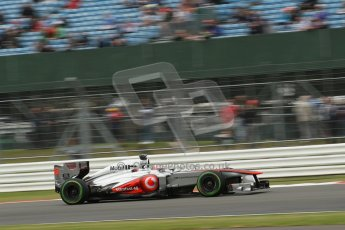 World © Octane Photographic Ltd. F1 British GP - Silverstone, Friday 28th June 2013 - Practice 2. Vodafone McLaren Mercedes MP4/28 - Jenson Button. Digital Ref : 0726lw1d9870