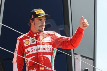 World © Octane Photographic Ltd. F1 British GP - Silverstone, Sunday 30th June 2013 - Race. Scuderia Ferrari F138 - Fernando Alonso on the podium. Digital Ref : 0734lw1d2741