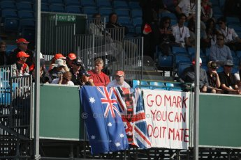World © Octane Photographic Ltd. F1 British GP - Silverstone, Sunday 30th June 2013 – Atmosphere. Mark Webber fans. Digital Ref : 0733lw1d1708