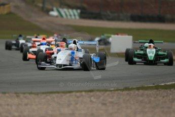 World © Octane Photographic Ltd. 2013 Protyre Formula Renault Championship – Donington Park, Sunday 14th April 2013 - Race 2. Jorge Cevallos - MGR Motorsport leads the pack. Digital ref : 0635lw1d3563