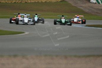World © Octane Photographic Ltd. 2013 Protyre Formula Renault Championship – Donington Park, Sunday 14th April 2013 - Race 2. Weiron Tan - Fortec Motorsports, Caterham Academy leads the pack. Digital ref : 0635lw1d3608