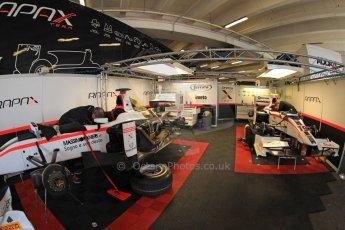 World © Octane Photographic Ltd. GP2 Monaco GP, Monte Carlo, Thursday 23rd May 2013. Practice and Qualifying. Stefano Coletti and Simon Trummer – Rapax Monaco car park garage. Digital Ref : 0693cb7d0769