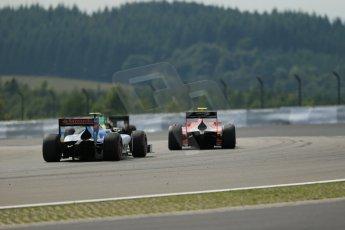World © Octane Photographic Ltd. GP2 German GP, Nurburgring, 6th July 2013. Race 1.Sergio Canamasas – EQ8 Caterham Racing, Mitch Evans. – Arden International and Rio Haryanto - Barwa Addax Team. Digital Ref : 0746lw1d7878