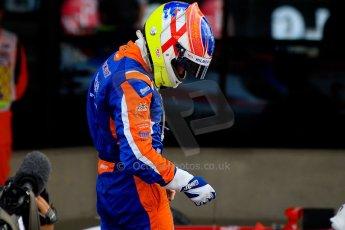 World © Octane Photographic Ltd./Chris Enion. GP2 British GP, Silverstone, Sunday 30th June 2013. Race 2 winner Jon Lancaster - Hilmer Motorsport celebrates in Parc Ferme. Digital Ref : 0732ce1d9530