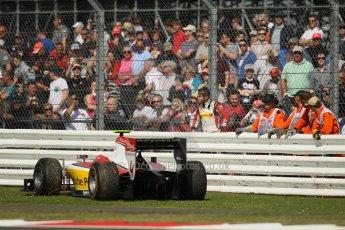 World © Octane Photographic Ltd. GP2 British GP, Silverstone, Sunday 30th June 2013. Race 2 Daniel Abt – ART Grand Prix retires after spinning. Digital Ref : 0732lw1d1850