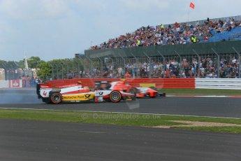 World © Octane Photographic Ltd. GP2 British GP, Silverstone, Sunday 30th June 2013. Race 2 Daniel Abt – ART Grand Prix spins as Mitch Evans. – Arden International passes. Digital Ref : 0732lw1d1956