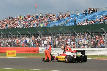 World © Octane Photographic Ltd. GP2 British GP, Silverstone, Sunday 30th June 2013. Race 2 Daniel Abt – ART Grand Prix retires after spinning. Digital Ref : 0732lw1d1980