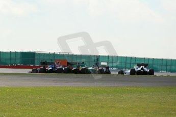 World © Octane Photographic Ltd. GP2 British GP, Silverstone, Sunday 30th June 2013. Race 2. Sergio Canamasas – EQ8 Caterham Racing under pressure from Jolyon Palmer - Carlin. Digital Ref : 0732lw1d2037