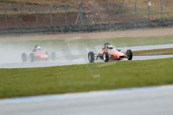 World © Octane Photographic Ltd. Donington Park 80th Anniversary Meeting (March 1933 – March 2013). HSCC Historic Formula Ford Championship in association with Avon Tyres. Benn Simms – JMR 7 Jomo and Nelson Rowe – Crossle 20F. Digital Ref : 0591lw1d6378
