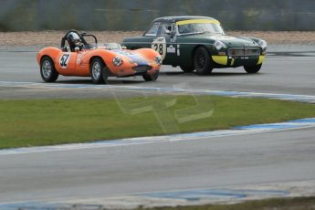 World © Octane Photographic Ltd. Donington Park 80th Anniversary Meeting (March 1933 – March 2013). HSCC Historic Road Sports Championship supported by Witchampton Garage (Inc. Class B2 Guards Trophy). Justin Murphy – Ginetta G4 and Peter Boyes/Jan Boyes – MGB. Digital Ref : 0594lw1d6859