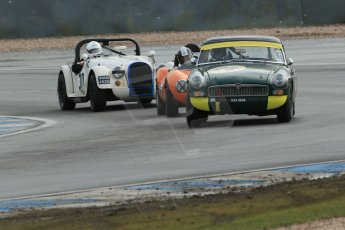 World © Octane Photographic Ltd. Donington Park 80th Anniversary Meeting (March 1933 – March 2013). HSCC Historic Road Sports Championship supported by Witchampton Garage (Inc. Class B2 Guards Trophy). Peter Boyes/Jan Boyes – MGB, Justin Murphy – Ginetta G4 and Tim Pearce – Morgan Plus 8. Digital Ref : 0594lw1d6886