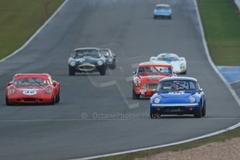World © Octane Photographic Ltd. Donington Park 80th Anniversary Meeting (March 1933 – March 2013). HSCC Guards Trophy Car Championship supported by Dunlop Tyres. Paul Tooms – Lotus Elan, Charles Allison – Chevron B8 and Denis Welch – Austin Healey 3000. Digital Ref : 0597lw1d7516