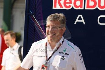 World © Octane Photographic Ltd. F1 Hungarian GP - Hungaroring, Saturday 27th July 2013 - Paddock. Mercedes AMG Petronas – Ross Brawn. Digital Ref : 0762lw1d0701