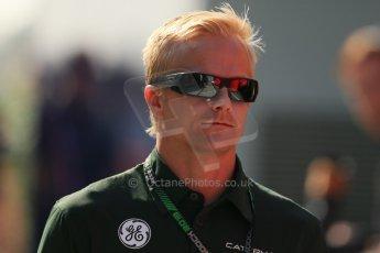 World © Octane Photographic Ltd. F1 Hungarian GP - Hungaroring, Saturday 27th July 2013 - Paddock. Caterham F1 Team – Heikki Kovalainen. Digital Ref : 0762lw1d2943
