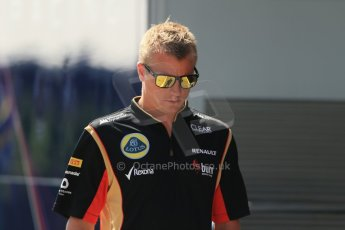 World © Octane Photographic Ltd. F1 Hungarian GP - Hungaroring, Saturday 27th July 2013 - Paddock. Lotus F1 Team – Kimi Raikkonen. Digital Ref : 0762lw1d3022