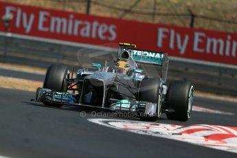 World © Octane Photographic Ltd. F1 Hungarian GP - Hungaroring, Saturday 27th July 2013 - Practice 3. Mercedes AMG Petronas F1 W04 – Lewis Hamilton. Digital Ref : 0763lw1d3135