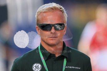 World © Octane Photographic Ltd. F1 Hungarian GP - Hungaroring. Friday 26th July 2013. F1 Paddock - Heikki Kovalainen - Caterham. Digital Ref : 0757lw1d0667