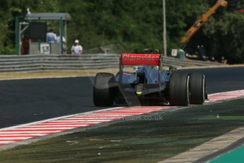 World © Octane Photographic Ltd. F1 Hungarian GP - Hungaroring. Friday 26th July 2013. F1 Practice 1. Vodafone McLaren Mercedes MP4/28 - Sergio Perez . Digital Ref : 0758lw1d1102