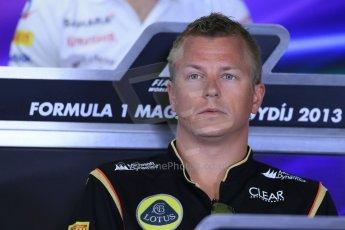 World © Octane Photographic Ltd. F1 Hungarian GP - Hungaroring. Thursday Press Conference. 25th July 2013. Lotus F1 Team E21 - Kimi Raikkonen. Digital Ref : 0756lw1d0391