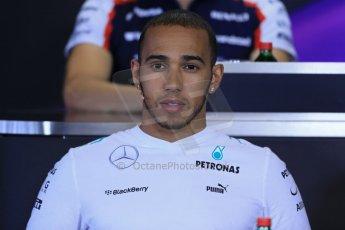 World © Octane Photographic Ltd. F1 Hungarian GP - Hungaroring. Thursday Press Conference. 25th July 2013. Mercedes AMG Petronas F1 W04 – Lewis Hamilton. Digital Ref : 0756lw1d0630