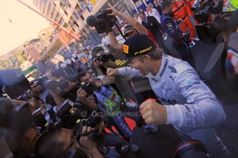 World © Octane Photographic Ltd. F1 Monaco GP, Monte Carlo - Sunday 26th May - Podium and celebrations. Mercedes AMG Petronas' Nico Rosberg celebrates after his lights to flag victory. Digital Ref : 0712lw1d2161