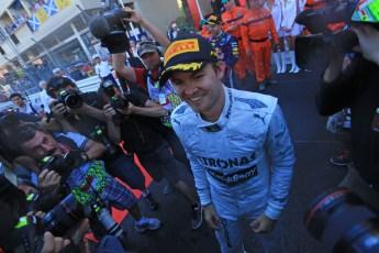 World © Octane Photographic Ltd. F1 Monaco GP, Monte Carlo - Sunday 26th May - Podium and celebrations. Mercedes AMG Petronas' Nico Rosberg celebrates after his lights to flag victory. Digital Ref : 0712lw1d2168