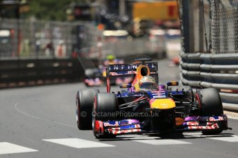 World © Octane Photographic Ltd. F1 Monaco GP, Monte Carlo - Sunday 26th May - Race. Infiniti Red Bull Racing RB9 - Sebastian Vettel leads Mark Webber. Digital Ref : 0711lw1d1415