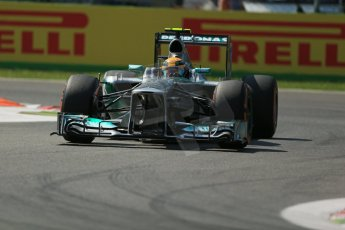 World © Octane Photographic Ltd. F1 Italian GP - Monza, Friday 6th September 2013 - Practice 2. Mercedes AMG Petronas F1 W04 – Lewis Hamilton. Digital Ref : 0813lw1d2885