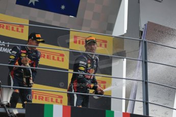 World © Octane Photographic Ltd. F1 Italian GP - Monza, Sunday 8th September 2013 - Podium. Infiniti Red Bull Racing RB9 - Sebastian Vettel and Mark Webber celebrate. Digital Ref :