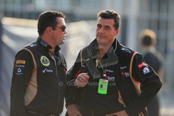 World © Octane Photographic Ltd. F1 Italian GP - Monza, Friday 6th September 2013 - Paddock. Lotus F1 Team E21 - Eric Boullier and Federico Gastaldi - Business Development Director. Digital Ref : 0810lw1d1398