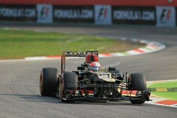 World © Octane Photographic Ltd. F1 Italian GP - Monza, Friday 6th September 2013 - Practice 1. Lotus F1 Team E21 - Romain Grosjean. Digital Ref : 0811lw1d1409
