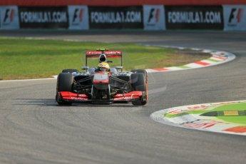 World © Octane Photographic Ltd. F1 Italian GP - Monza, Friday 6th September 2013 - Practice 1. Vodafone McLaren Mercedes MP4/28 - Sergio Perez . Digital Ref : 0811lw1d1426